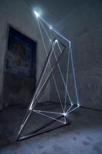 20 CARLO BERNARDINI, Catalizzatore di Luce 2005, acciaio inox e fibre ottiche, m h  5x4x3; Viterbo, Chiesa di S.Tommaso.