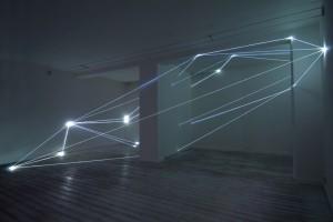 21 CARLO BERNARDINI, CODICE SPAZIALE 2009, Fibre ottiche mt h 3,60x8,50x6, Grossetti Arte Contemporanea, Milano.