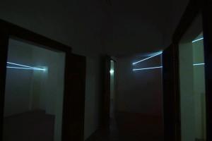 27 CARLO BERNARDINI, INTERRELAZIONI NELLO SPAZIO 2008; Installazione in fibre ottiche mt h 3x7x10, Rivara (TO) Castello di Rivara.
