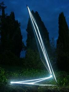 40 CARLO BERNARDINI, Spazio Permeabile 2003, Acciaio inox, fibre ottiche, mt h 4x2x1,5