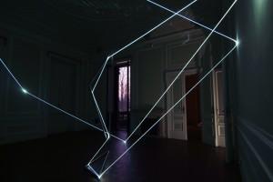 42 CARLO BERNARDINI, CATALIZZATORE DI LUCE 2008; Sculto:installazione in acciaio inox e fibre ottiche, m h 4,5x8x6. Chiari (Brescia) Villa Mazziotti.