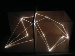 48 CARLO BERNARDINI, Architettural Space 2002, fibre ottiche, legno, cm h 40x80x65, Sculpture Space, Utica, New York